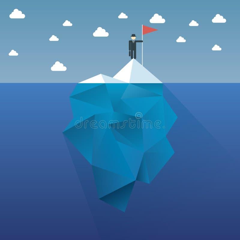 Het concepten vectorontwerp van de veelhoekijsberg met stock illustratie