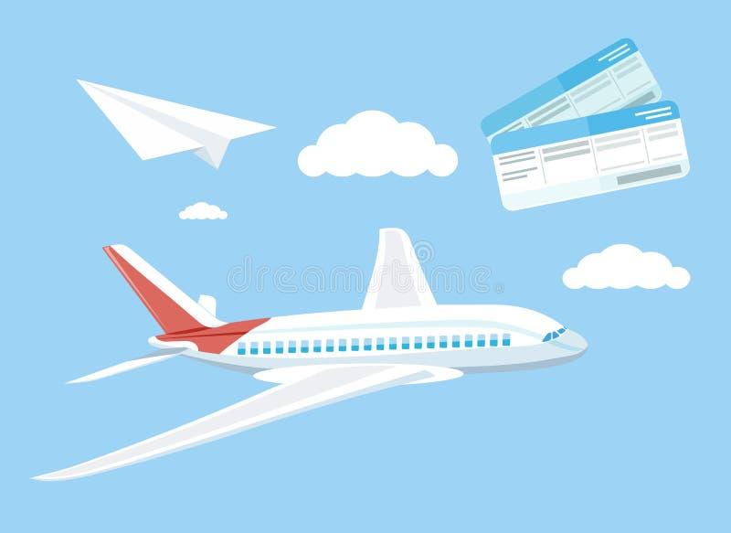 Het concepten vliegend vliegtuig van de luchtreis stock illustratie