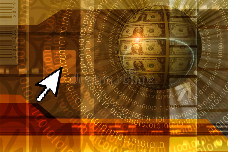Het conceptenachtergrond van de elektronische handel - sinaasappel stock illustratie