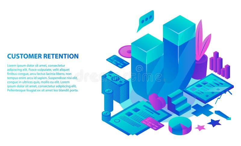 Het conceptenachtergrond van het klantenbehoud, isometrische stijl stock illustratie