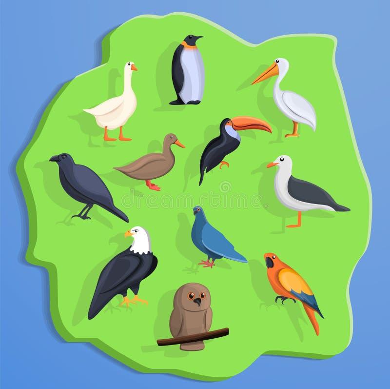 Het conceptenachtergrond van het vogelland, beeldverhaalstijl stock illustratie