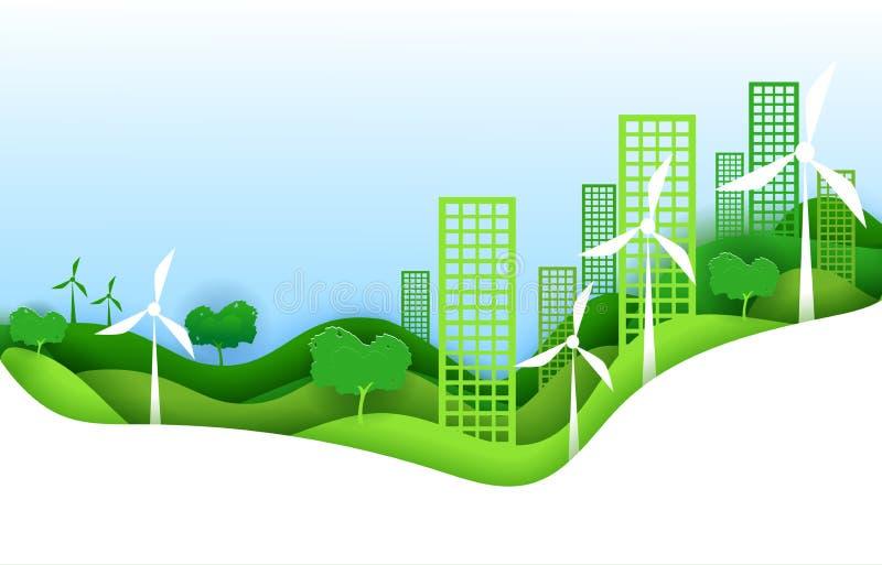 Het conceptenaffiche van de Ecostad in document de stijl van de kunstorigami Vectorillustratiedocument besnoeiingsontwerp Groene  stock illustratie