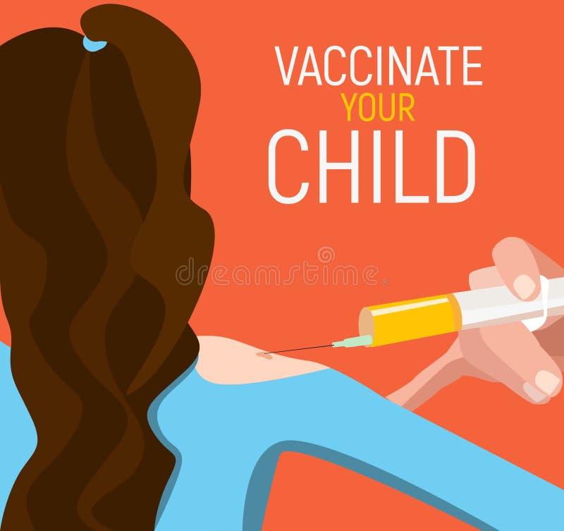 Het conceptenaffiche van de kindinenting Medische immunisering, geduldige gezondheidszorg, illustratie royalty-vrije stock foto