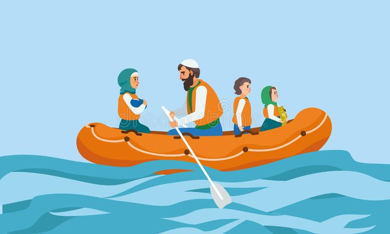 Het conceptenbanner van de boot immigrantenfamilie, vlakke stijl royalty-vrije illustratie
