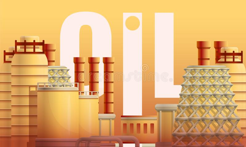 Het conceptenbanner van de olie stedelijke raffinaderij, beeldverhaalstijl royalty-vrije illustratie