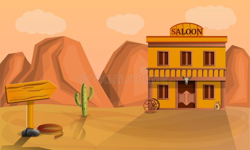 Het conceptenbanner van de woestijnzaal, beeldverhaalstijl royalty-vrije illustratie
