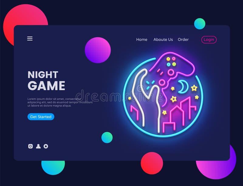 Het conceptenbanner van nachtspelen Het Teken van het Gamerneon, kan voor Webbanner, infographics, websitemalplaatje gebruiken Ga royalty-vrije illustratie