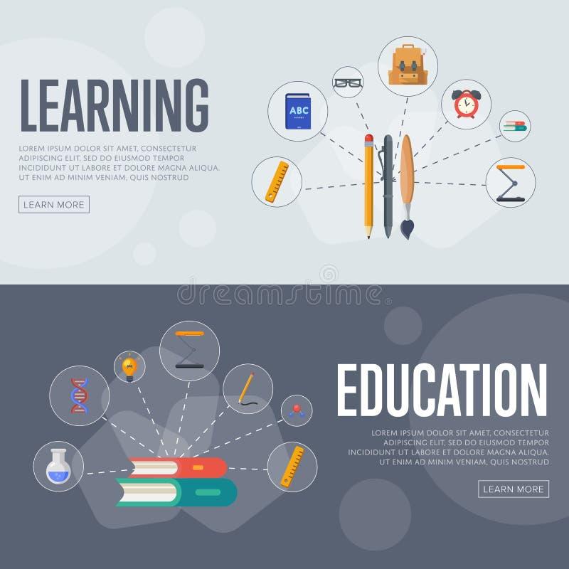 Het conceptenbanners van onderwijsinfographics vector illustratie