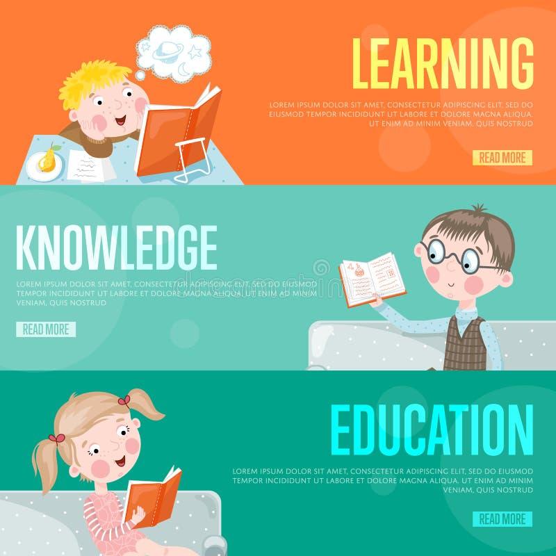 Het conceptenbanners van onderwijsinfographics stock illustratie