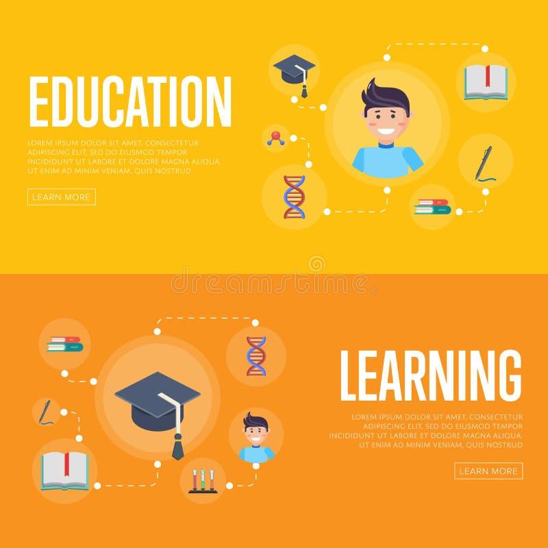 Het conceptenbanners van onderwijsinfographics royalty-vrije illustratie