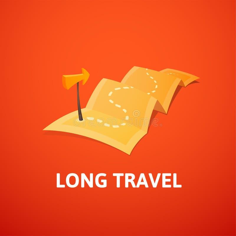 Het conceptenembleem van de wereldreis, lange route in reiskaart met gidsteller royalty-vrije illustratie