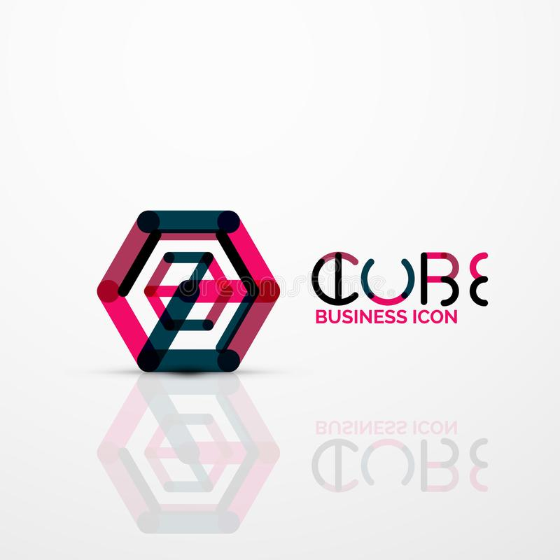 Het conceptenembleem van het kubusidee, lijn royalty-vrije illustratie