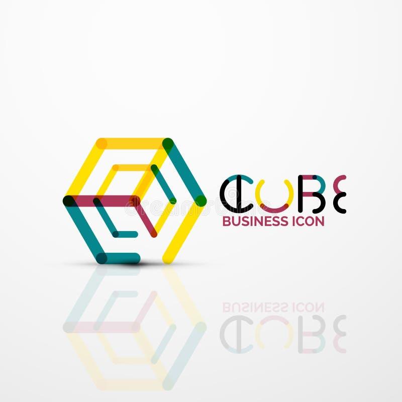 Het conceptenembleem van het kubusidee, lijn stock illustratie