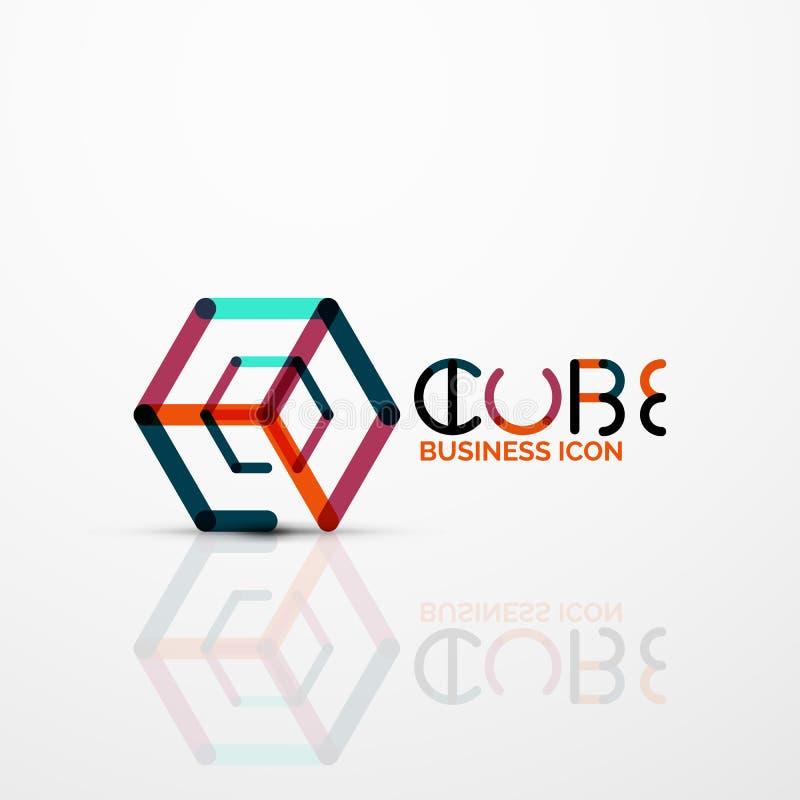 Het conceptenembleem van het kubusidee, lijn vector illustratie