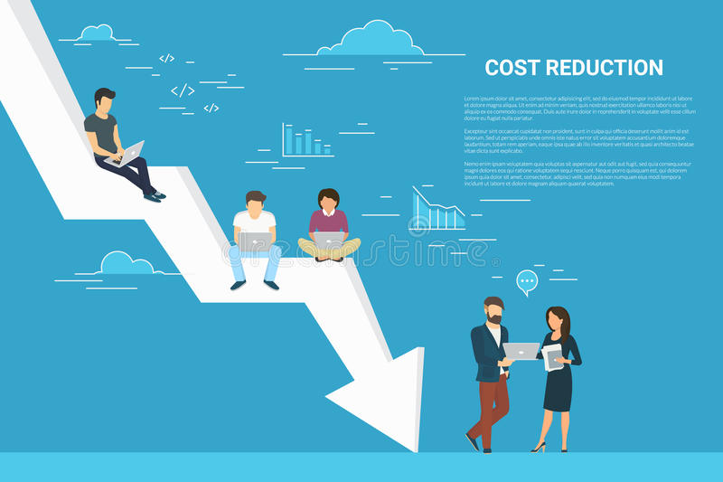 Het conceptenillustratie van de bedrijfskostenvermindering van mensen die als team samenwerken stock illustratie