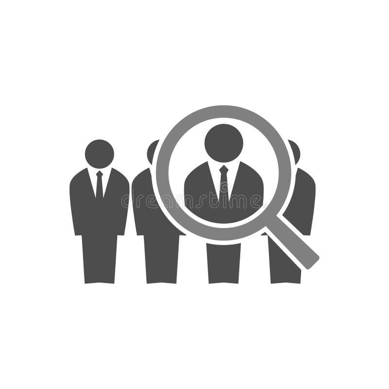 Het conceptenillustratie van de werknemersrekrutering zakenlieden in kostuums in lijn en een vergrootglas Personeel die pictogram vector illustratie
