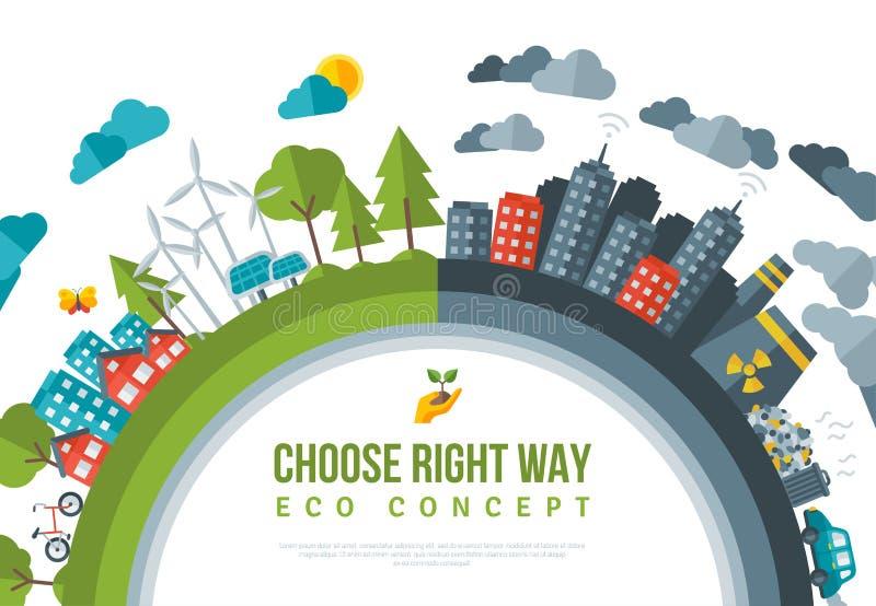 Het Conceptenkader van de Eco Vriendschappelijk, Groen Energie vector illustratie