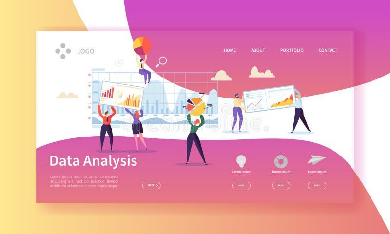 Het Conceptenlandingspagina van de gegevensanalyse Vlakke Mensenkarakters die de Websitemalplaatje bouwen van de Dashboardgrafiek vector illustratie