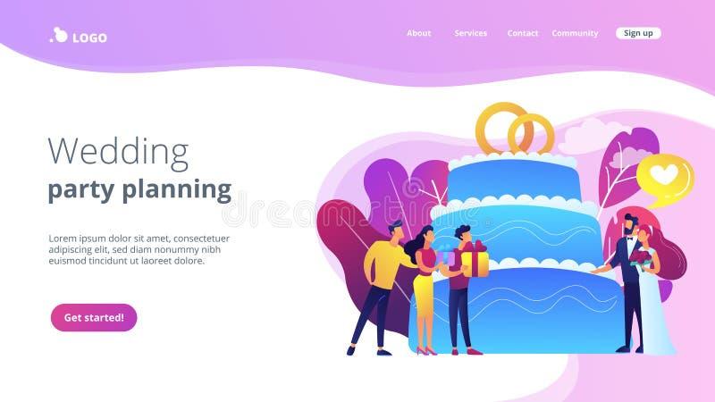 Het conceptenlandingspagina van de huwelijkspartij royalty-vrije illustratie