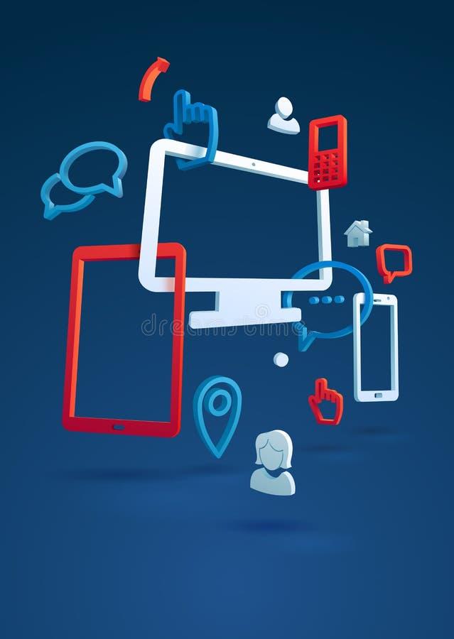 Het conceptenpictogrammen van het kaderontwerp voor computer en tabletpc en de mobiele telefoondiensten en apps Illustratie voor  royalty-vrije illustratie