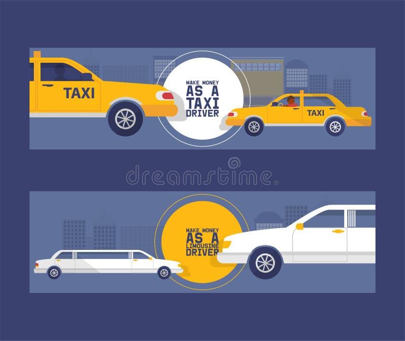 Het conceptenreeks van de taxibestuurder van banners vectorillustratie Auto, vervoer, vervoer, overdrachtpictogram Openbare diens stock illustratie