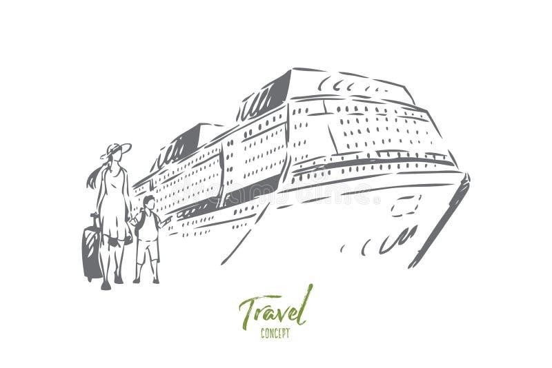 Het conceptenschets van de cruisereis Ge?soleerdee vectorillustratie royalty-vrije illustratie