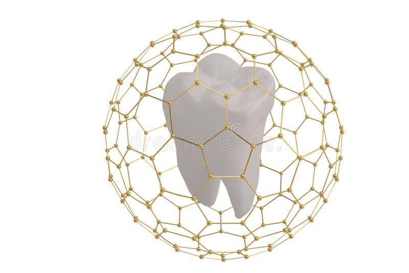 Het conceptentand van de tandbescherming met hexagon kader dat 3D ziek wordt behandeld stock illustratie