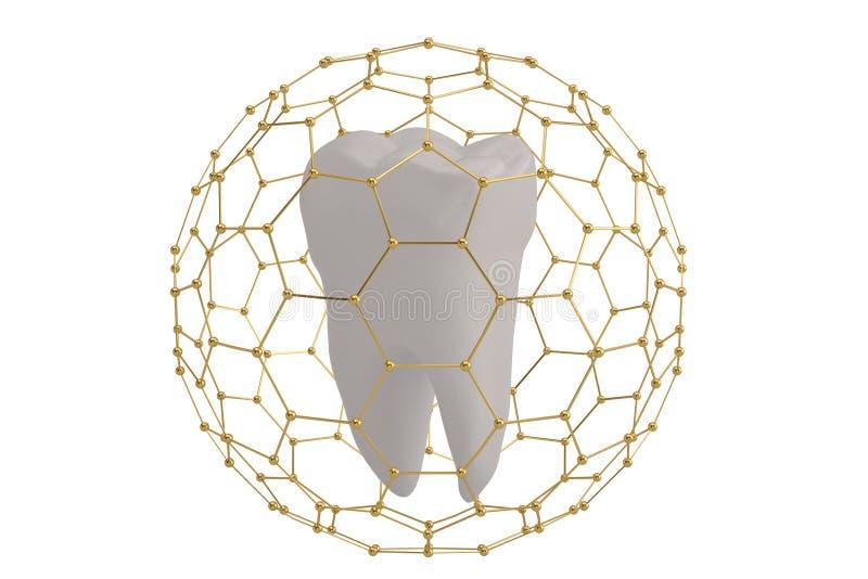 Het conceptentand van de tandbescherming met hexagon kader dat 3D ziek wordt behandeld vector illustratie