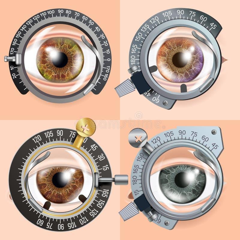Het conceptenvector van de oogtest Correctieapparaat Kliniekoverleg Kenmerkend materiaal Optometrist Check Medisch stock illustratie