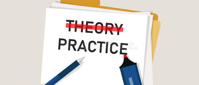 Het conceptenwoord van de theoriepraktijk in document met rode teller  De illustratie van implementatieuitvoering is belangrijker vector illustratie