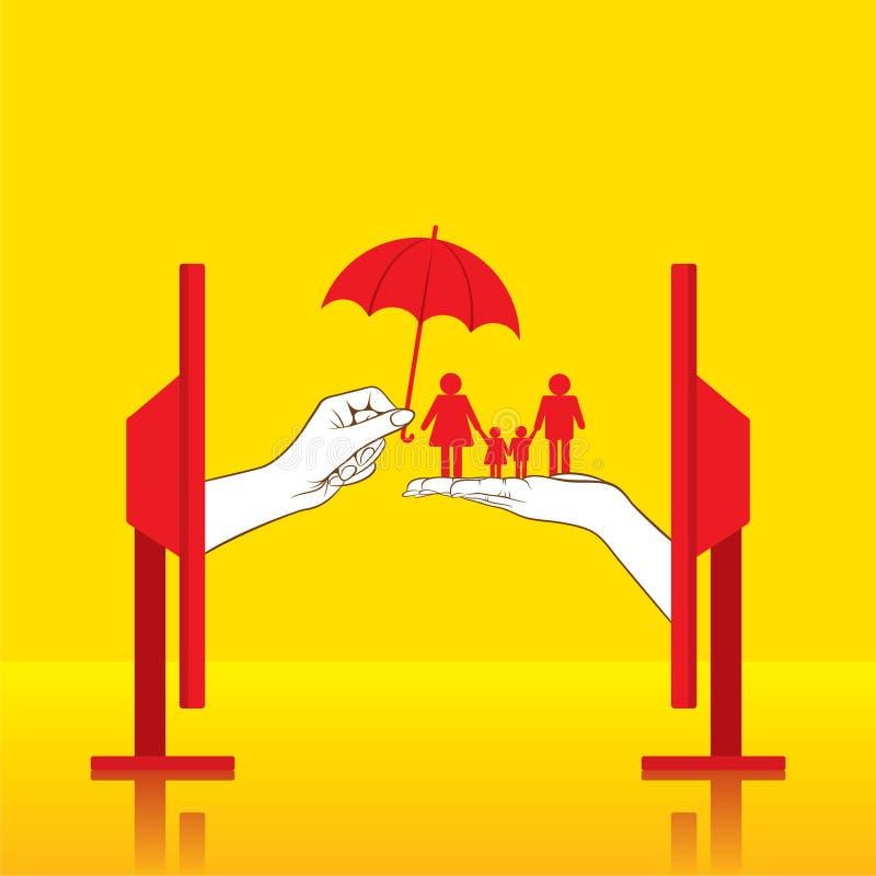 Het conceptontwerp van de familieverzekering stock illustratie