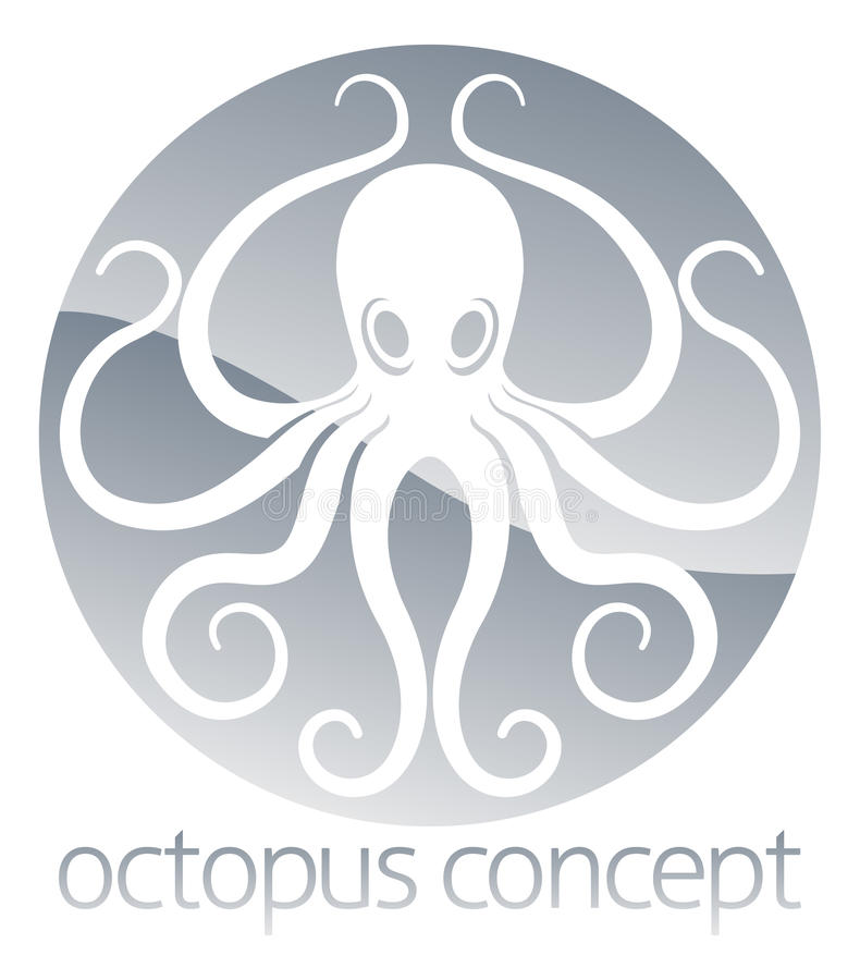 Het conceptontwerp van de octopuscirkel vector illustratie