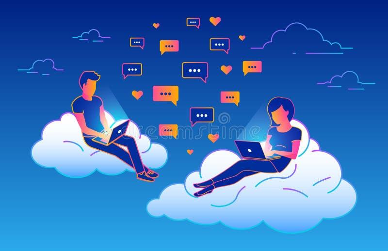 Het conceptontwerp van de praatjebespreking van jongeren die laptops voor het verzenden van berichten en het zitten op wolken in  royalty-vrije illustratie