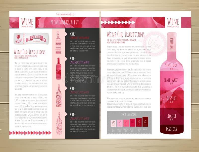 Download Het Conceptontwerp Van De Waterverfwijn Documentmalplaatje Vector Illustratie - Illustratie bestaande uit identiteit, zaken: 54079616