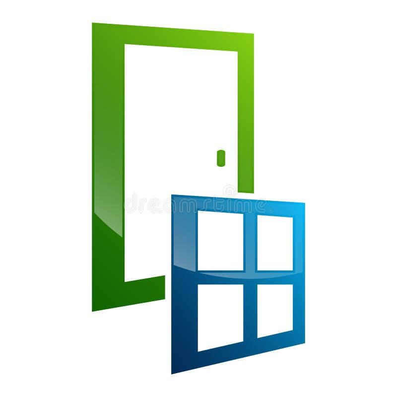 Het conceptontwerp van het deurraamkozijn Het elementenvector van het symbool grafische malplaatje royalty-vrije illustratie