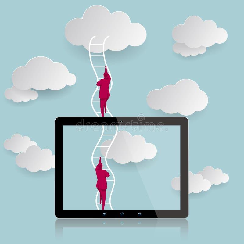 Het conceptontwerp van Internet Het commerciële team beklom de wolken vector illustratie