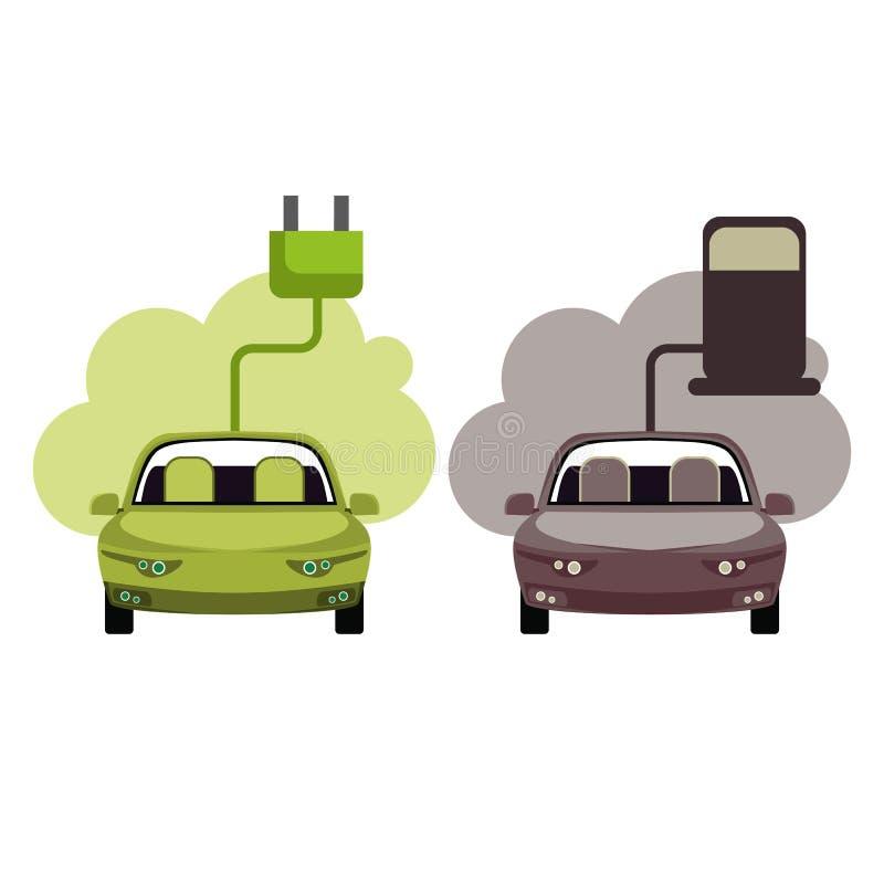 Het conceptuele beeld van een groene energie en verontreinigt auto's stock illustratie