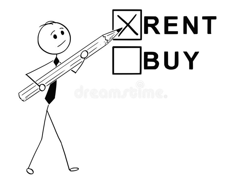 Het conceptuele Beeldverhaal van koopt of huurt Economisch besluit stock illustratie