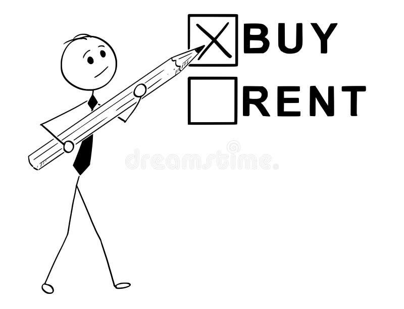 Het conceptuele Beeldverhaal van koopt of huurt Economisch besluit vector illustratie