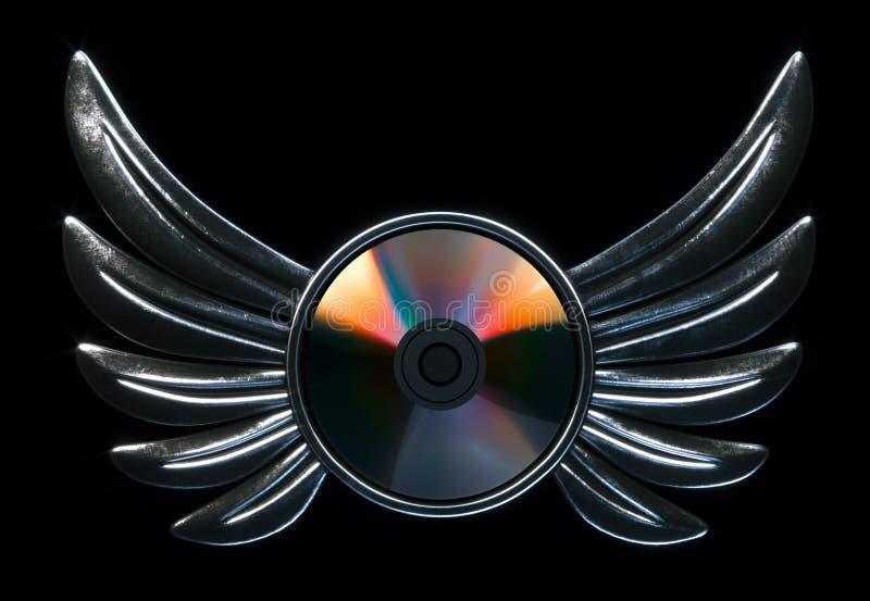Het conceptuele CD-schijfembleem met metaal 3d vleugels geeft versie terug royalty-vrije illustratie