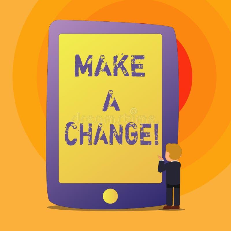 Het conceptuele hand het schrijven tonen brengt een Verandering aan De bedrijfsfototekst probeert nieuw ding evolueert de Evoluti vector illustratie