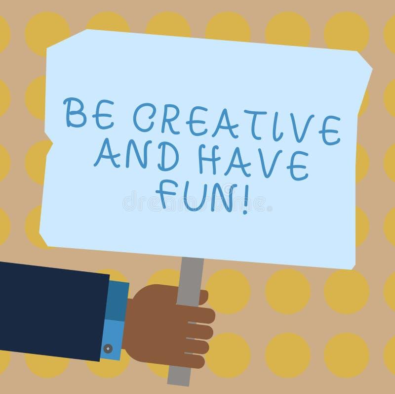 Het conceptuele hand het schrijven tonen is Creatief en heeft Pret Bedrijfsfoto die het Gelukkige leidende tot nieuwe dingen geni stock illustratie