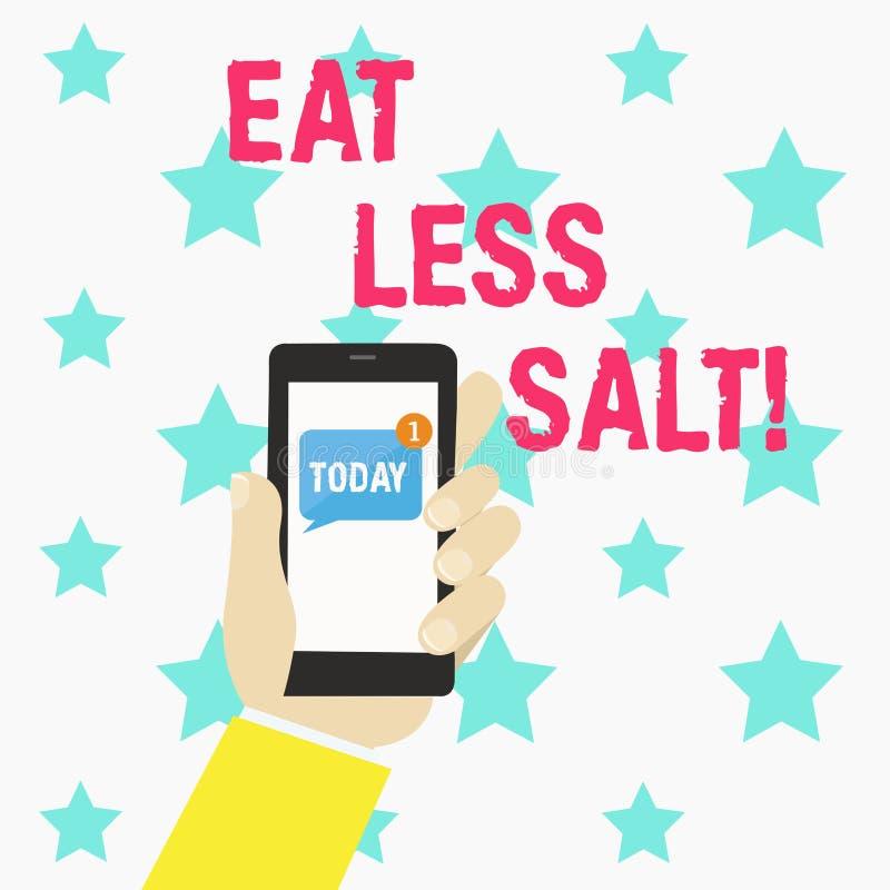 Het conceptuele hand het schrijven tonen eet Minder Zout De bedrijfsfototekst vermindert de hoeveelheid natrium in uw dieet het e vector illustratie