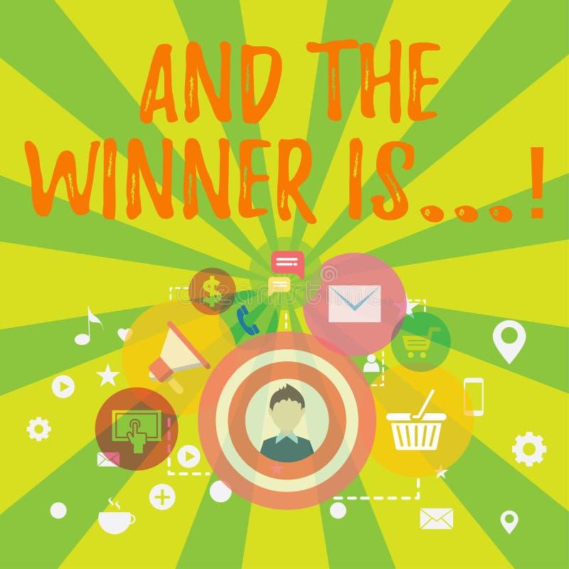 Het conceptuele hand het schrijven tonen en de Winnaar zijn Bedrijfsfototekst die wie aankondigen eerste plaats bij de concurrent stock illustratie