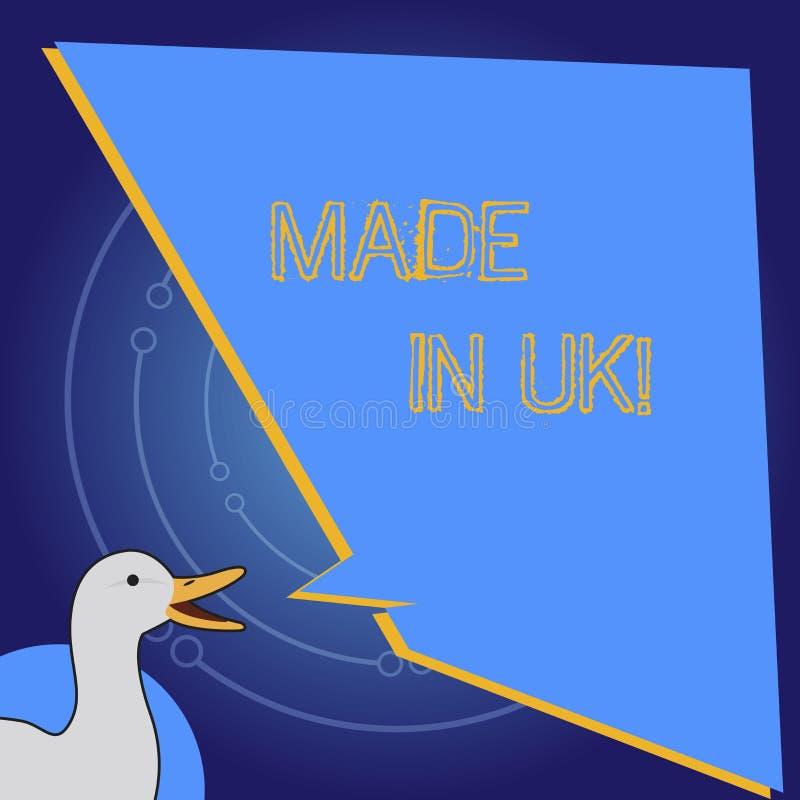 Het conceptuele hand het schrijven tonen Gemaakt in het UK De bedrijfsfoto die iets demonstreren analysisufactured in het Verenig stock illustratie
