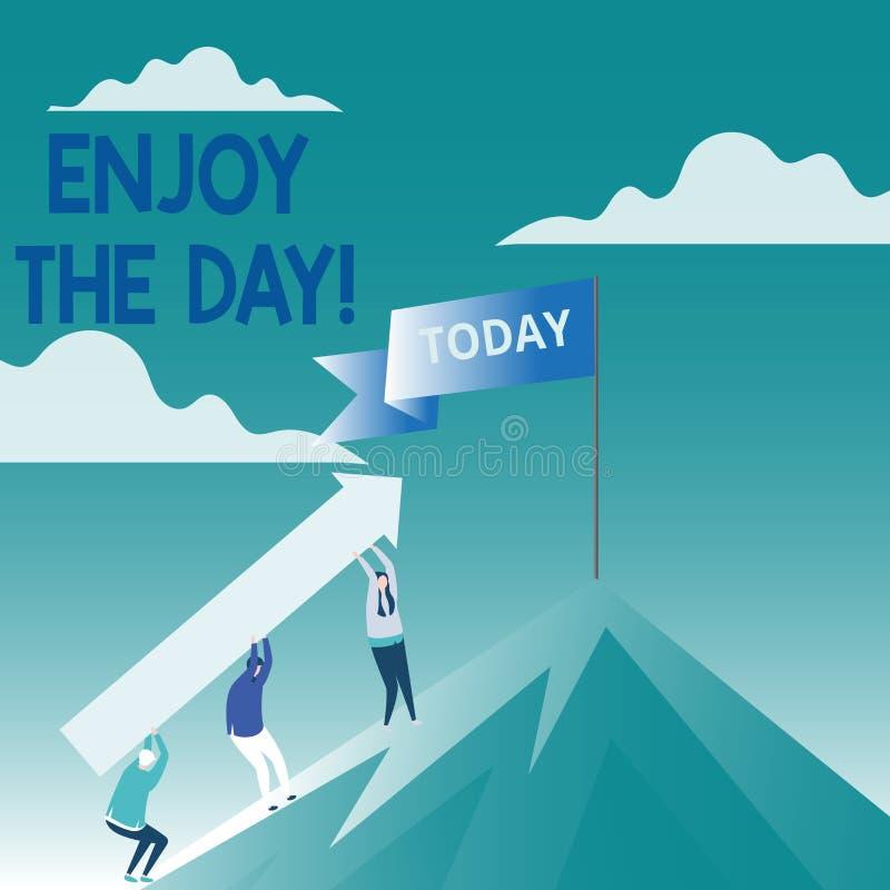 Het conceptuele hand het schrijven tonen geniet van de Dag Van de het Plezier de Gelukkige Levensstijl van de bedrijfsfototekst O vector illustratie