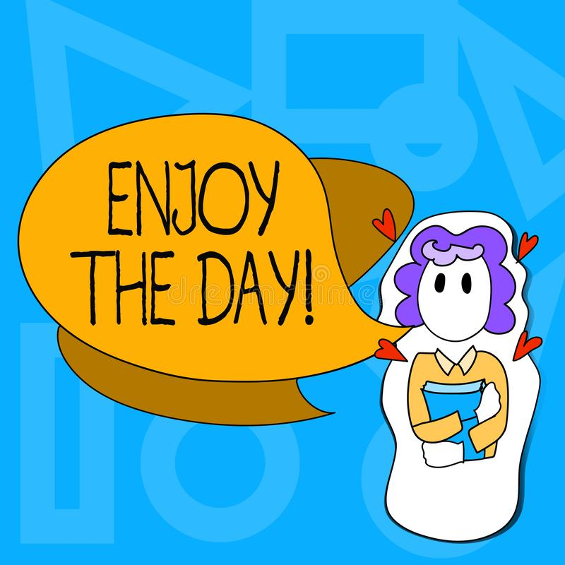 Het conceptuele hand het schrijven tonen geniet van de Dag Van de het Plezier de Gelukkige Levensstijl van de bedrijfsfototekst O stock illustratie