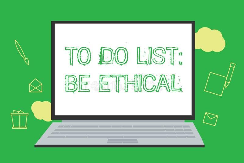 Het conceptuele hand het schrijven tonen om Lijst te doen Ethisch is De bedrijfsfoto demonstratie plant of herinnering die in wor royalty-vrije illustratie