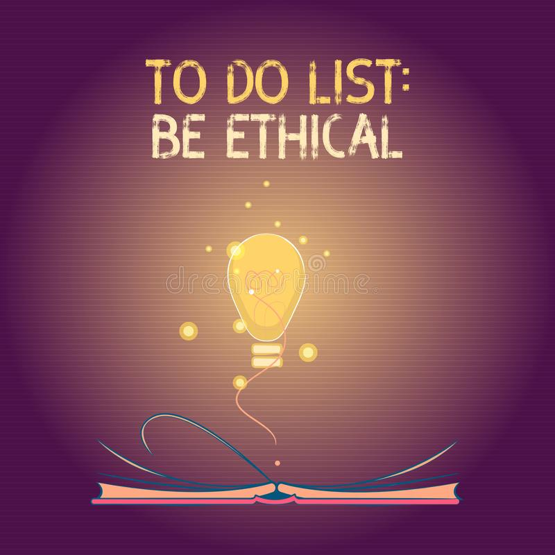 Het conceptuele hand het schrijven tonen om Lijst te doen Ethisch is Het plan of de herinnering van de bedrijfsfototekst dat in e royalty-vrije illustratie