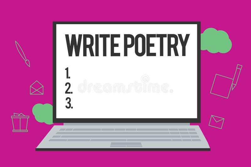 Het conceptuele hand het schrijven tonen schrijft Poëzie Bedrijfsfototekst het Schrijven literatuur roanalysistic melancholische  stock illustratie